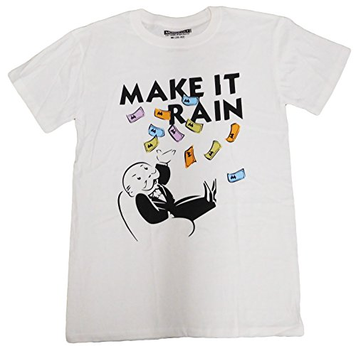 Official Monopoly Game (Monopoly Man Graphic Youth Men's T-shirt (3XL(52-54), RainMoney(White)))