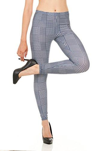 CARNIVAL Women's Full-Length Printed Soft Microfiber Legging, Blue Menswear, Medium ()