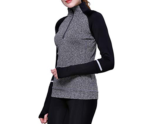 Women Track Jacket Running Thumb Hole Shirts Yoga Tops 1/2 Zip Pullover Long Sleeve Grey S (Zip Jacket 1/2 Pullover)