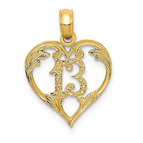 14k Yellow Gold 13 in Heart Cut-out Pendant