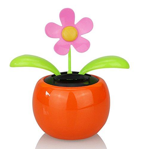 daffodilblob Solar Power Desk Toy, Solar Powered Dancing Flower Flip Flop Leaves Car Display Dashboard Toy Gift Orange