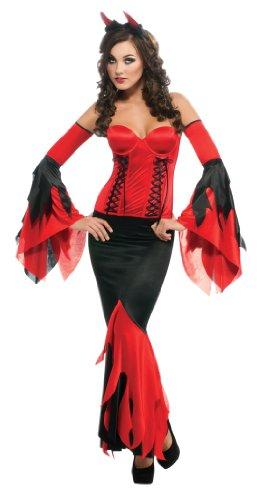 Devil Costume With Black Corset (Secret Wishes Deluxe Devil Costume With Corset, Black/Red, X-Small)