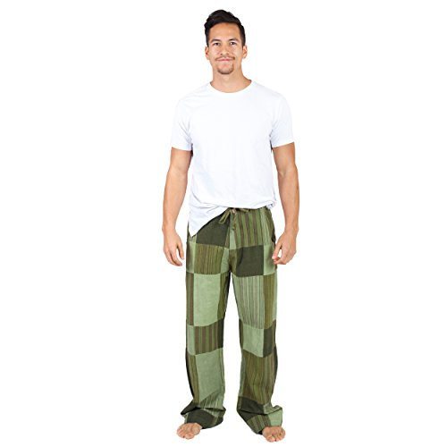 Men's Patchwork Everday Lounge Cotton Pants-Sage-Large