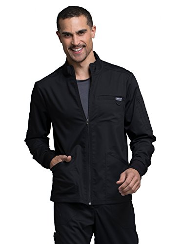 Cherokee Revolution Workwear Men's Zip Up Solid Scrub Jacket Large Black by Cherokee