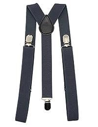 """Mens Suspenders 1"""" Inch Elastic Adjustable Y-Back Clip-on Suspender - Dark Grey"""
