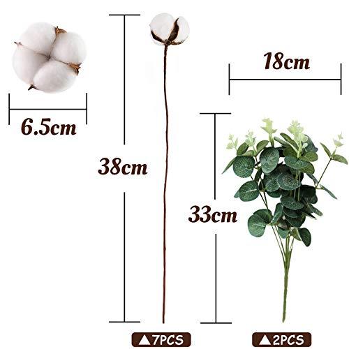 VGOODALL Künstliche Eukalyptus Girlande mit Baumwolle Zweig, 7 Baumwolle Zweig mit 2 Eukalyptus Girlande Trockenblumen Deko für Vase Hochzeit Party Deko