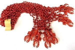 12 Red Crawfish Lobster 1 Dozen Mardi Gras Bead Necklaces Lot