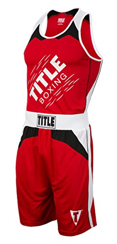 Title Boxing Aerovent Elite Amateur Boxing Set 10, Red/White, Large (Jersey Title Racerback Boxing)