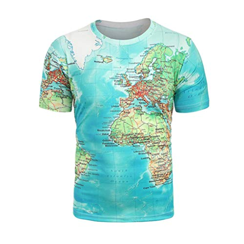 Corriee Deals Fashion Tops for Men Summer Cool Clothing Mens World Map Funny 3D Print T-Shirt Green ()