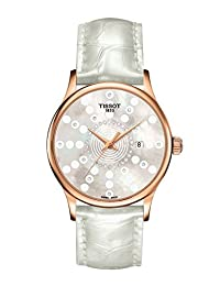 Tissot Rose Dream Lady 18k Rose Gold Diamond Mother of Pearl Dial White Leather Strap Women's Watch