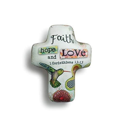 DEMDACO Faith Hope Love Floral Green 2 x 2 Resin Stone Artful Cross Token Figurine