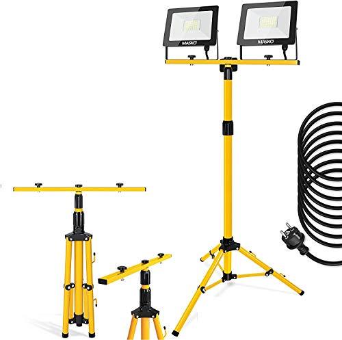 MASKO® LED Baustrahler mit Stativ 100W Doppel 2x 50W Strahler 6500K Arbeitsleuchte Arbeitsscheinwerfer 5m…