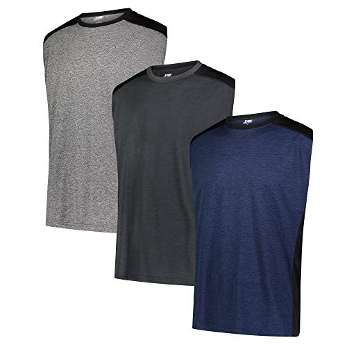 X-PRO Mens Ultimate Sleeveless Workout Fitness Sports DRI-FIT Tank Top [3-Pack] (Medium, Black/Navy/Charcoal)