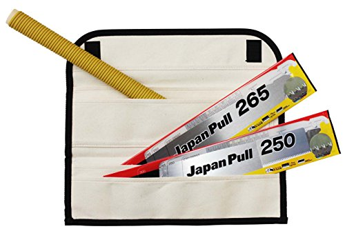 Tajima JPR-SET Japanese Precision Woodworkers Rapid Pull Hand Saw Kit - 4 Piece Set with 16 & 19 TPI Blades & Canvas Carrying Case - Kit 16 Piece Set