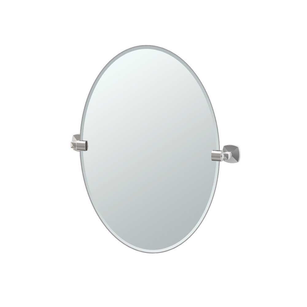 Gatco 4159 Jewel Frameless Oval Mirror, Satin