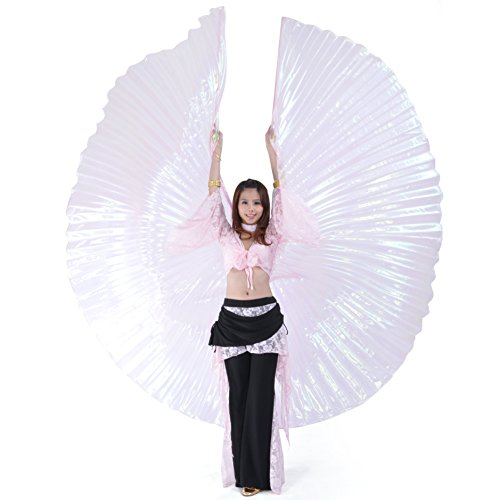 [BellyLady Transparent Belly Dance Costume Isis Wings With Sticks, Gift Idea PINK] (Dance Hire Costumes)