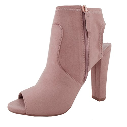 Women's Black Peep high Chunky DU Z Out Toe heel Cut Bootie Ankle Mauve IMSU rTqxar