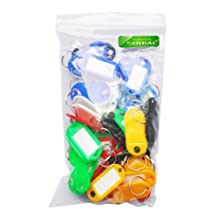 SODIAL(R) 50 Pcs Plastic Keychain Key Tags ID Label Name Tags Split Ring