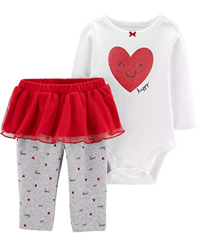 Carter's Baby Girls' 2-Piece Valentine's Day Bodysuit & Tutu Pant Set (3 Months, Ivory/Red)