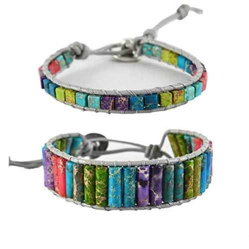 YGLINE Boho Friendship Handmade Leather Bangle Bracelets Single Wrap Imperial Jasper Stone Beads Wrap Bracelet Women Men for - Imperial Single Imperial