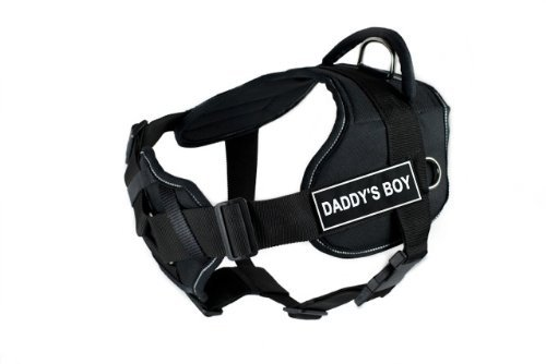 Dean & Tyler New DT FUN Dog Harness With Padded Chest Piece With 3 Straps, Reflective Trim Size  Medium (Will Fit  71cm 86cm) with  DADDY'S BOY  Velcro Patches, Black White
