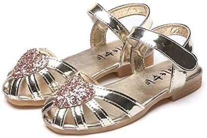 WYHUI Summer Girls Baotou Sandals Love to Hollow Out Bright Leather Girls Shoes Anti-Skid Bull-Bottomed Baby Sandals Silver,26