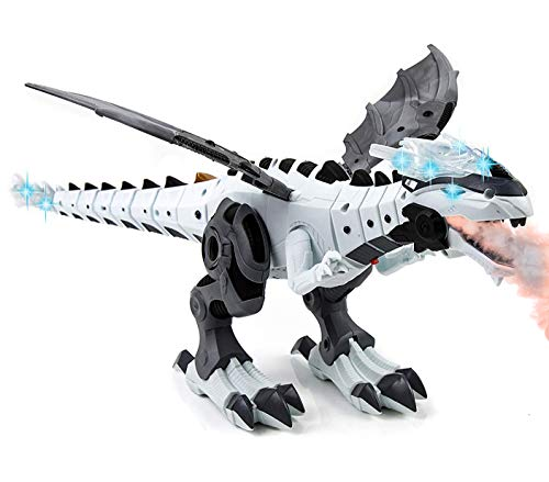 Toysery Mist Spray Dinosaur Robot Toy for Kids - Walking Dinosaur Fire Breathing Water Spray Mist with Red Light & Realistic Sounds (Colors May Vary) (Dragon Toys For Kids)
