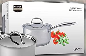 Utopia Kitchen Premium Stainless Steel Saucepan With Cover - Induction Compatible & Multipurpose - 1 Quart