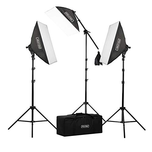 "Fovitec - 3-Light 2500W Fluorescent Lighting Kit for Photo & Video with 20""x28"" Softboxes, stands, Boom Stand, & Carry Case from Fovitec"