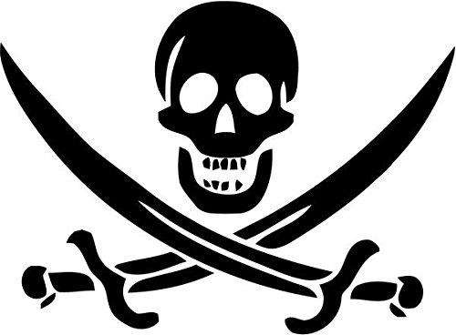 - Jolly Roger Pirate Swords Skull Decal Sticker Car Motorcycle Truck Bumper Window Laptop Wall Décor Size- 6 Inch Wide Black Color