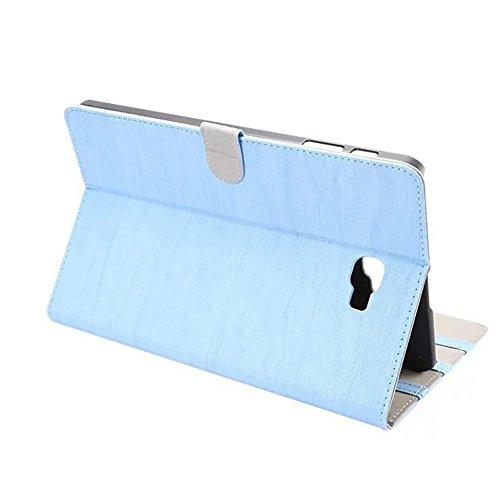 SRY-Funda móvil Samsung Cubierta de la caja del soporte del cuero de la PU de estilo retro de madera con niveles adaptados para Samsung Galaxy Tab A 10.1 (2016) T580 ( Color : Black ) Blue