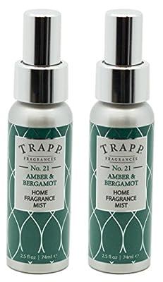 Trapp Home Fragrance Mist, No. 21 Amber & Bergamot, 2.5-Ounce (2-Pack)