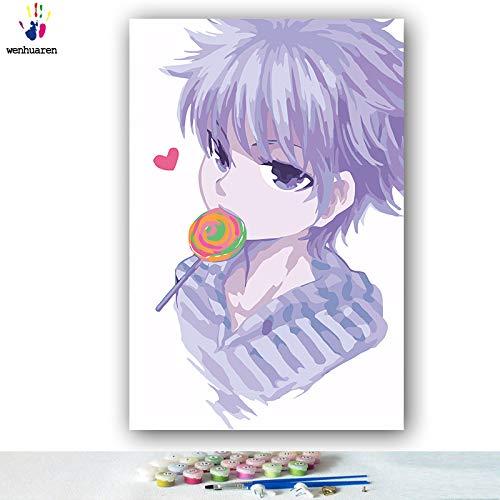 KYKDY DIY Färbungen Bilder nach Zahlen Zahlen Zahlen mit Farben Vollzeit Jäger japanische Manga-Bild Zeichnung Malen nach Zahlen gerahmt, 0382,60x75 kein Rahmen B07MYTF3WM | Creative  d1bd5b