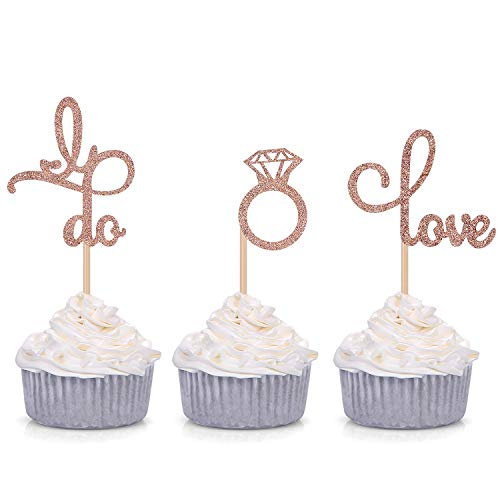 Set of 24 Rose Gold Glitter Love Diamond Ring I Do Cupcake Toppers for Wedding Bridal Shower Decorations