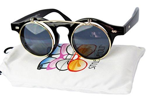 W83-vp Style Vault Flip up Steampunk wayfarer round Sunglasses (C006 Black/gold-dark lens, UV400) by Style Vault