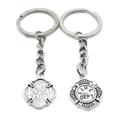 100 Items Metal Keychain Keyring Key Tags Chains Rings Jewelry Bag Charms IJ2L2 Fire Department Badge