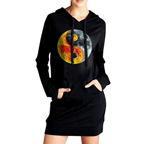 Women's Long Hoodie Yin Yang Total Solar Eclipse Womens Long Sleeve Sweatshirt Tops