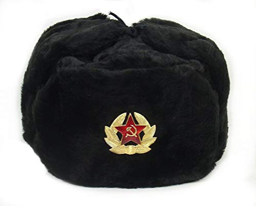 Russian Soviet Army Fur Military Cossack Ushanka Hat (Black, 60 (L))
