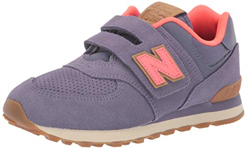 - New Balance Girls' Iconic 574 Hook and Loop Sneaker deep Cosmic Sky/Dragonfly 4.5 M US Big Kid