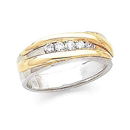 ICE CARATS 14k Two Tone Yellow Gold Diamond Mens Wedding Ring Band Size 10.00 Man Bridal Fine Jewelry Dad Mens Gift (Designer Two Tone Diamond Band)