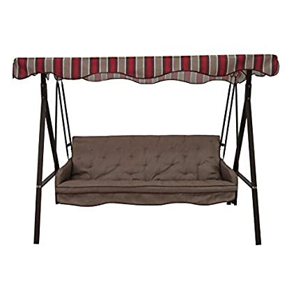 Garden Winds Replacement Canopy Top For Lowes Garden Treasures SC GSN And  SC8844GSN Three Person Swing ...