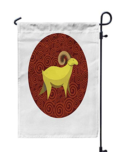 Shorping Welcome Garden Flag, 12x18Inch Chinese Zodiac Sign Goat Symbol Eastern Asian Horoscope Lunar Calendar Element Round Icon for Holiday and Seasonal Double-Sided Printing Yards Flags ()