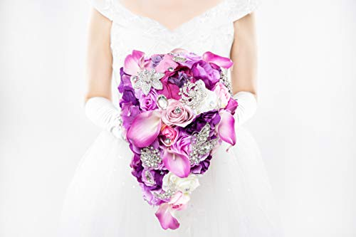 Abbie Home Cascading Bride Bouquet - Lavender Rose Calla Lily Purple Theme Wedding Flowers with Crystal Rhinestone Brooches Decoration (A Cascading Bouquet) ()