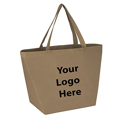 """Sunrise Identity Budget Shopper Tote Bag - 100 Quantity - $1.35 Each - Promotional Product/Bulk with Your Logo/Customized Size: 20""""W x 13""""H x 8""""D."""