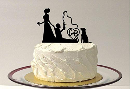 *MADE IN USA* Personalized Fishing Wedding Cake Topper, with Pet Dog, 48 Different Dog Breeds To Choose From, Funny Bride Dragging Groom Cake Topper Hair Up (Best Fishing Dog Breed)