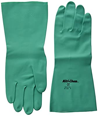 MCR Safety 5337S 7-1/2-Inch Nitri-Chem Seamless Nitrile Buna Rubber Gloves with Flock Lining, Green, Small, 1-Pair