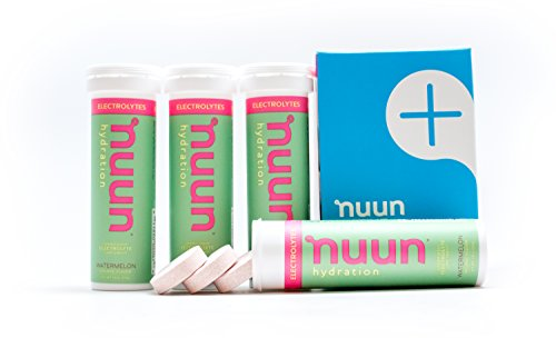 Nuun Hydration: Electrolyte Drink Tablets, Watermelon, Box of 4 Tubes (40 servings), to Recover Essential Electrolytes Lost Through Sweat