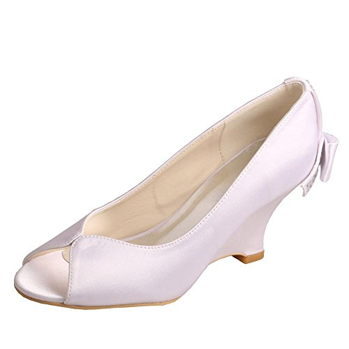 Peep Wedge Rhinestones Bow Toe MW002 Satin Heel Wedopus Shoes Bridal Women's FTEIxqwE1