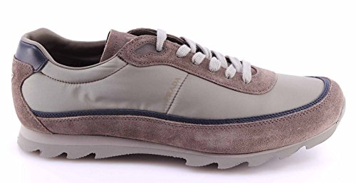 Scarpe Sneakers Uomo PRADA 4E2094 Cromo Grigio Nylon Nevada2 Camoscio Nuove