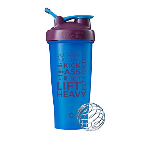 Do What You Love Blender Bottle Shaker Cup, 28oz Classic Blender Bottles, Protein Shakers (Cyan/Plum – 28oz)